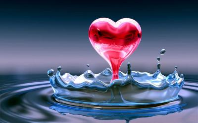 Water Heart HD ppt backgrounds