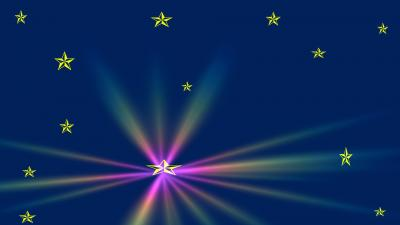 Gold Stars, Rainbow Flare ppt backgrounds