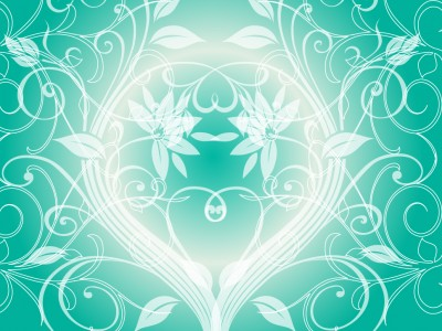 Aqua flower swirls nature ppt backgrounds