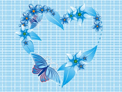 Blue butterfly heart ppt backgrounds