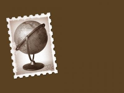 Globe Postage Stamp ppt backgrounds