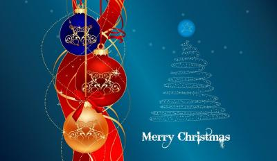 Light, blue, red, merry christmas ornaments ppt backgrounds