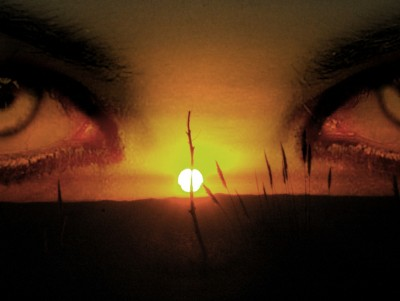 Eyest in the night with sunset ppt backgrounds