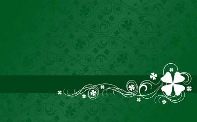 Shamrock on Green Abstract Pattern  ppt backgrounds