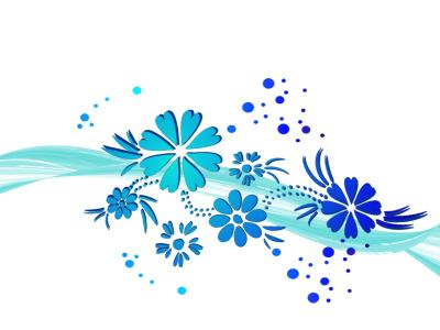 Wawe Blue Flowers ppt backgrounds