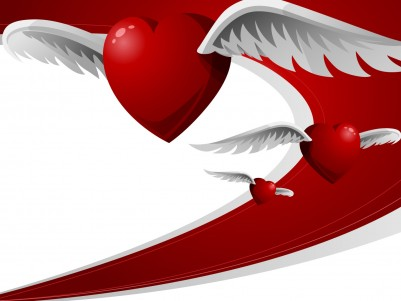 Hearts with wings ppt backgrounds