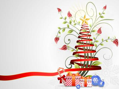 Ribbon Christmas ppt backgrounds