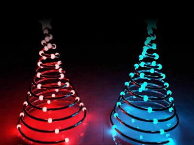 Springy christmas tree with lights ppt backgrounds