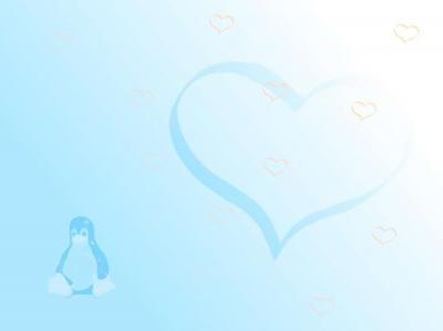 Heart and penguin on blue ppt backgrounds