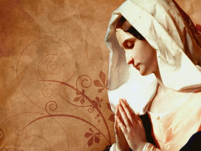 Mother Mary Praying ppt backgrounds