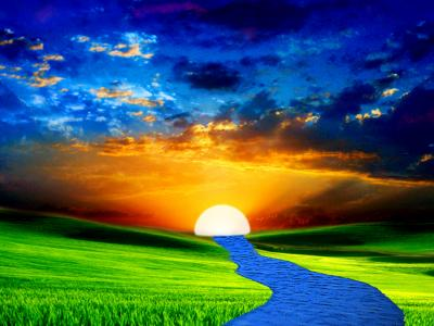 Nature sun river ppt backgrounds