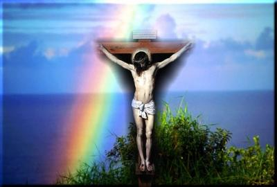 Christian rainbow jesus  ppt backgrounds