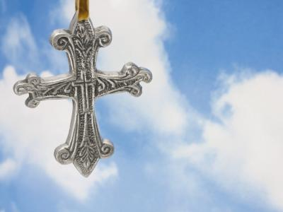 Cross With Sky ppt backgrounds